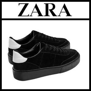 Zara Split Suede Lace-Up Sneakers